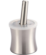 E-Online Spice Grinder Stainless Steel Mortar and Pestle for Crushing Grinding Ergonomic Design with Anti Slip Base and Silicone Lid