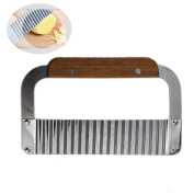 Wavy Crinkle Cutter Stainless Steel French Fry Slicer Blade Cutting Tool with Wooden Handle Salad Chopping Knife