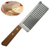 Wavy Crinkle Cutter Stainless Steel Potato Vegetable Cutter French Fry Slicer Blade Cutting Tool with Wooden Handle