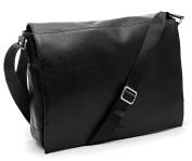 Bovari Messenger Bag Shoulder Bag Laptop Bag 39x31x9 cm Model Metz - Limited Edition Premium Leather - Classic Black