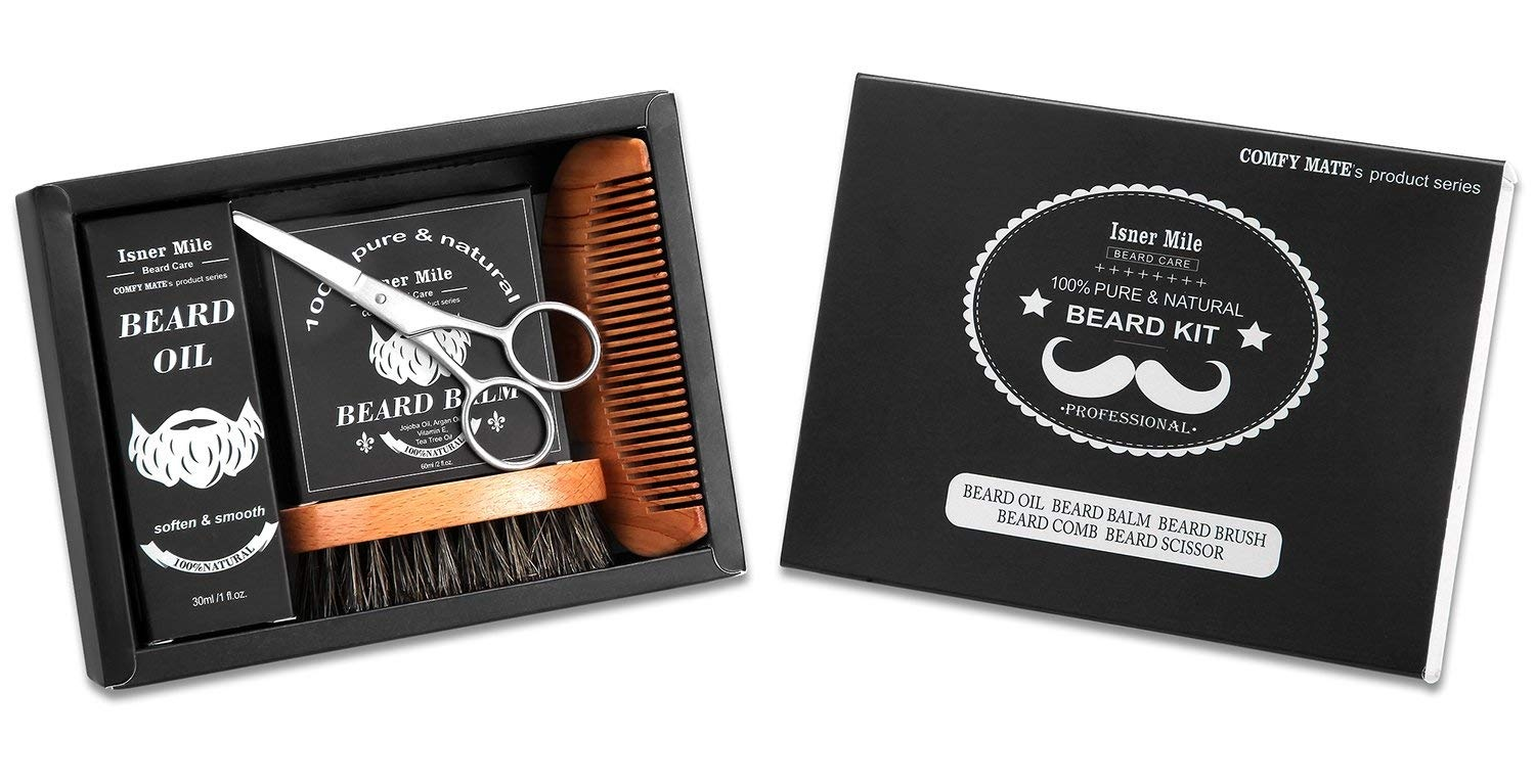 UPGRADED Beard Kit for Men Beard Growth Grooming & Trimming with Unscented  Leave-in Conditioner Oil, Moustache & Beard Balm Butter Wax, Beard Brush,