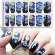 DALU.A.F Womens 2 Style 4 Sheets Van Gogh's Starry Night Nail Art Sticker with Gleaming Purple Sky Bright Stars Decals Nail Art Warp Stickers Set for Girls
