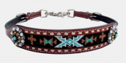 Showman Navajo Cross Beaded Inlay Design Rhinestone Concho Medium Leather Wither Strap