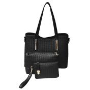 Domybest 3Pcs/Set Bag Sets Ladies PU Leather Weaving Tote Shoulder Bags Clutch Bag Handbag Purse
