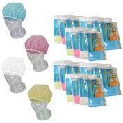 24 Lot Shower Cap Extra Large Waterproof Elastic Band Womens Bath Hat Resistant