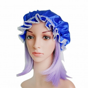 OROPY 100% Silk Lacework Sleep Cap Night Sleeping Bonnet Hat Hair Protect for Women, Blue