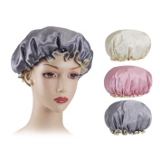 Shintop 3pcs Waterproof Shower Cap Double-Layer Bath Hair Hat for Shower, Spa, Makeup and Cooking