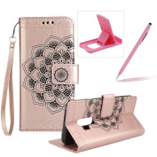 Rope Leather Case for Samsung Galaxy S9 Plus,Strap Wallet Case for Samsung Galaxy S9 Plus,Herzzer Bookstyle Classic Elegant Mandala Flower Pattern Stand Magnetic Smart Leather Case with Soft Inner for Samsung Galaxy S9 Plus + 1 x Free Pink Cellphone Ki ..