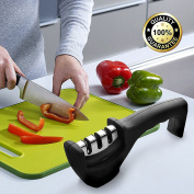 Knife Sharpener,3 Stages Premium Manual Knife Sharpener with Non-slip Rubber Base & Ergonomic Design Handle Kitchen Accessory for Steel & Ceramic Knives and Scissors-Professional Chef's Choice