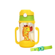 Blaward Toddler Kids Straw Cup Baby Learning Drinking Water Bottle with Anti Slip Handle 400ml