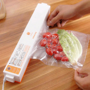 OUkANING Vacuum Food Sealer Machine, Household Food Fresh Sealing Packing with Free Heat Seal Bags, Mini Electric Automatic Sealing Machine+15 bags, White