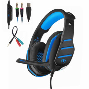 Mengshen Gaming Headset, 3.5 mm Professional Stereo Headphones - Include Y Splitter for PC, PlayStation 4, Xbox One, Android and iOS - GM3 Blue