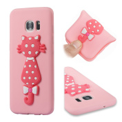 Galaxy S7 Edge Case, ARSUE [Scratch Resistant] Cute 3D Creative Pink Cat Slim Fit Flexible TPU Gel Rubber Soft Silicone Bumper Feeling Protective Phone Case Cover for Samsung Galaxy S7 Edge