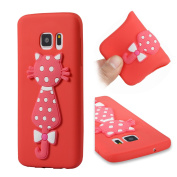 Galaxy S7 Case, ARSUE [Scratch Resistant] Cute 3D Creative Pink Cat Slim Fit Flexible TPU Gel Rubber Soft Silicone Bumper Feeling Protective Phone Case Cover for Samsung Galaxy S7