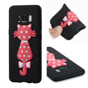 Galaxy S8 Case, ARSUE [Scratch Resistant] Cute 3D Creative Pink Cat Slim Fit Flexible TPU Gel Rubber Soft Silicone Bumper Feeling Protective Phone Case Cover for Samsung Galaxy S8 15cm