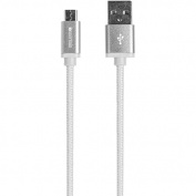 IESSENTIALS IE-BC6MICRO-WT Braided Charge & Sync Micro USB Cable, 1.8m