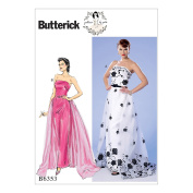 McCall Pattern B6353-A50 Misses' Strapless Dress, Detachable Train and Belt