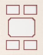 Photo Mat 28cm x 36cm Double W/Multiple Openings-Linen W/Redwood