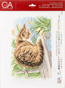 RTO Cat with Butterfly Collection D'Art Stamped Cross Stitch Kit, 28 x 37cm