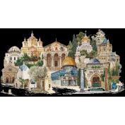 Thea Gouverneur 18 Count Jerusalem on Aida Counted Cross Stitch Kit, 80cm x 50cm , Black