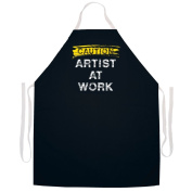 Attitude Aprons Caution Artist At Work Arts Crafts Apron, Black