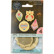 60025 Wood Shapes Punched For Cross Stitch-4/Pkg