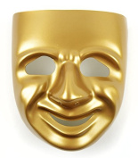 Mask-It Comedy Mask with Instruction Sheet, 20cm , Gold
