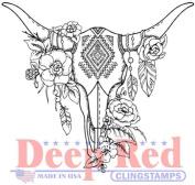 Deep Red Rubber Cling Stamp Boho Longhorn Southwest inspired Cow Skull