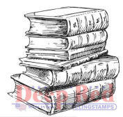 Deep Red Rubber Cling Stamp Library Reading Books Stack
