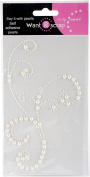 Want2Scrap - Say it With Pearls - Self Adhesive Pearls - Frilly Flourish Swirl - White