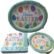 Easter Paper Plates and Napkins- Bundle of 3 Items Serves 8 Large Plates, Dessert Plates and Luncheon Napkins