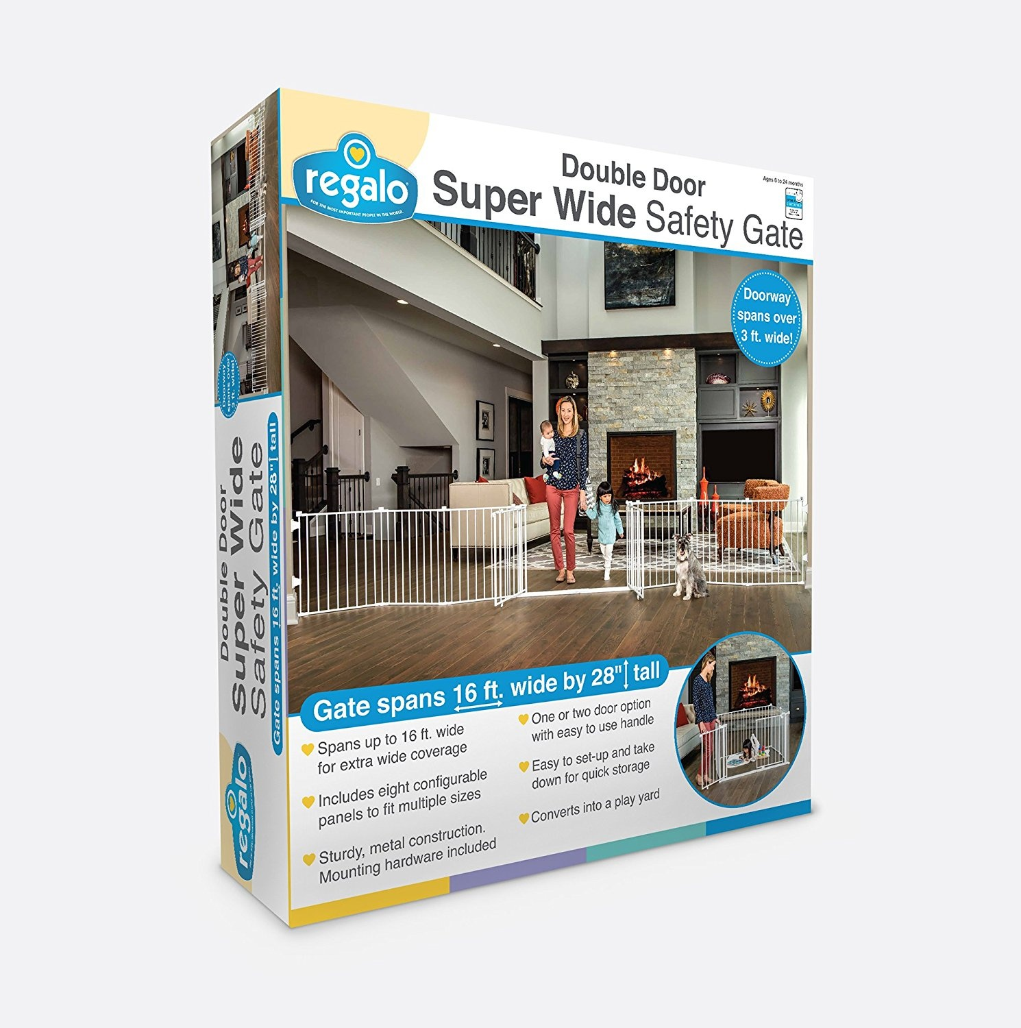 Regalo 8 Panel Double Door Super Wide Gate And Play Yard White