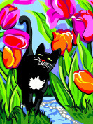 RTO Cat with Tulips D'Art Needlepoint Printed Tapestry Canvas, 40 x 50cm