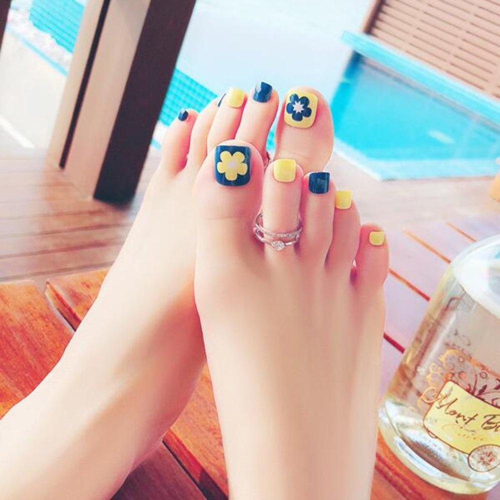 Dongcrystal 24 PCS False Toenail Fake Nail for Toes Yellow Flower ...