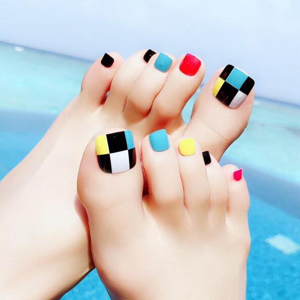 Dongcrystal 24 PCS Colourful False Toenail Fake Nail for Toes Full ...
