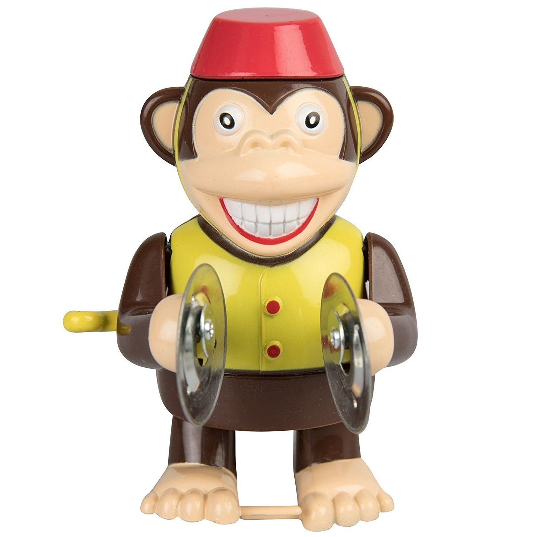 Retro Wind Up Monkey Cymbal Banging Walking Classic Clockwork Toy By