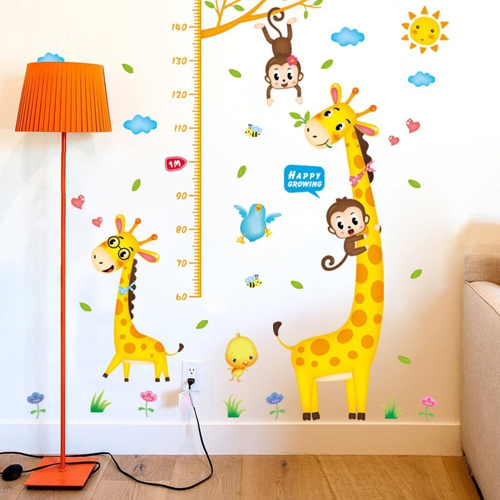 Hot Kids Height Chart Wall Stickers Home Decor Cartoon Giraffe Height Ruler Children Room Decals Wall Art Sticker Wallpaper,Christmas Gift Halloween 150-180CM