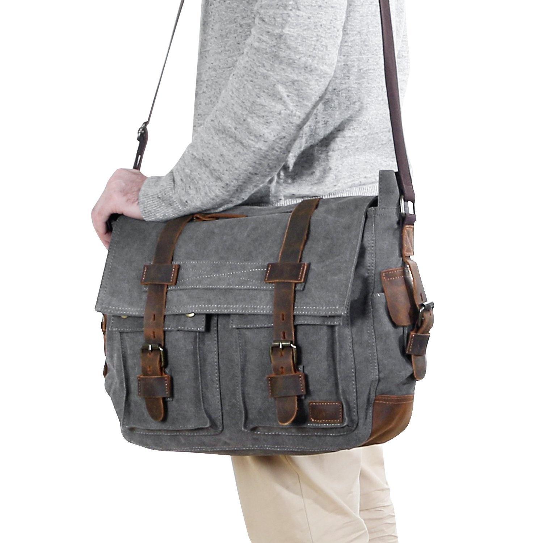 Lifewit 40cm - 44cm Laptop Messenger Shoulder Bag Men s Vintage ... 4d4d4caa96e58