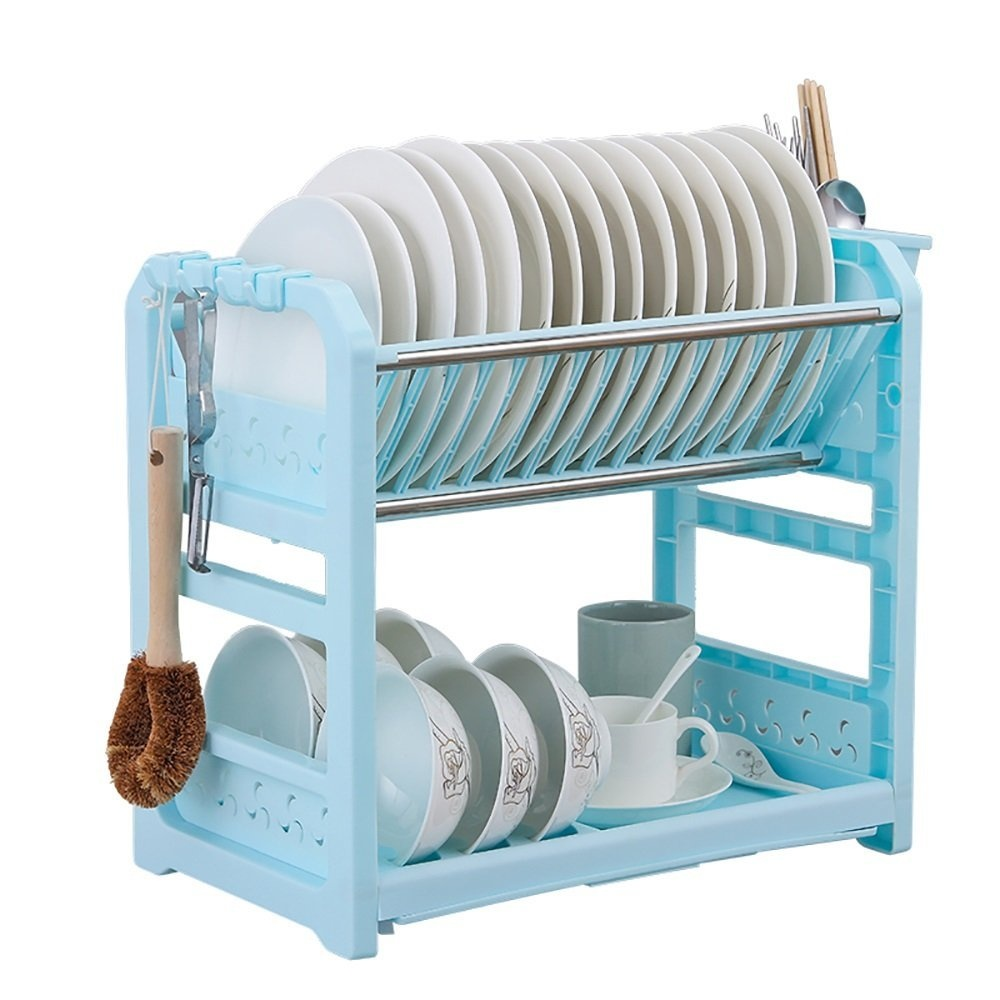 CHC Tableware Stand Plastic Double-layer Cutlery Drain Rack Kitchen ...