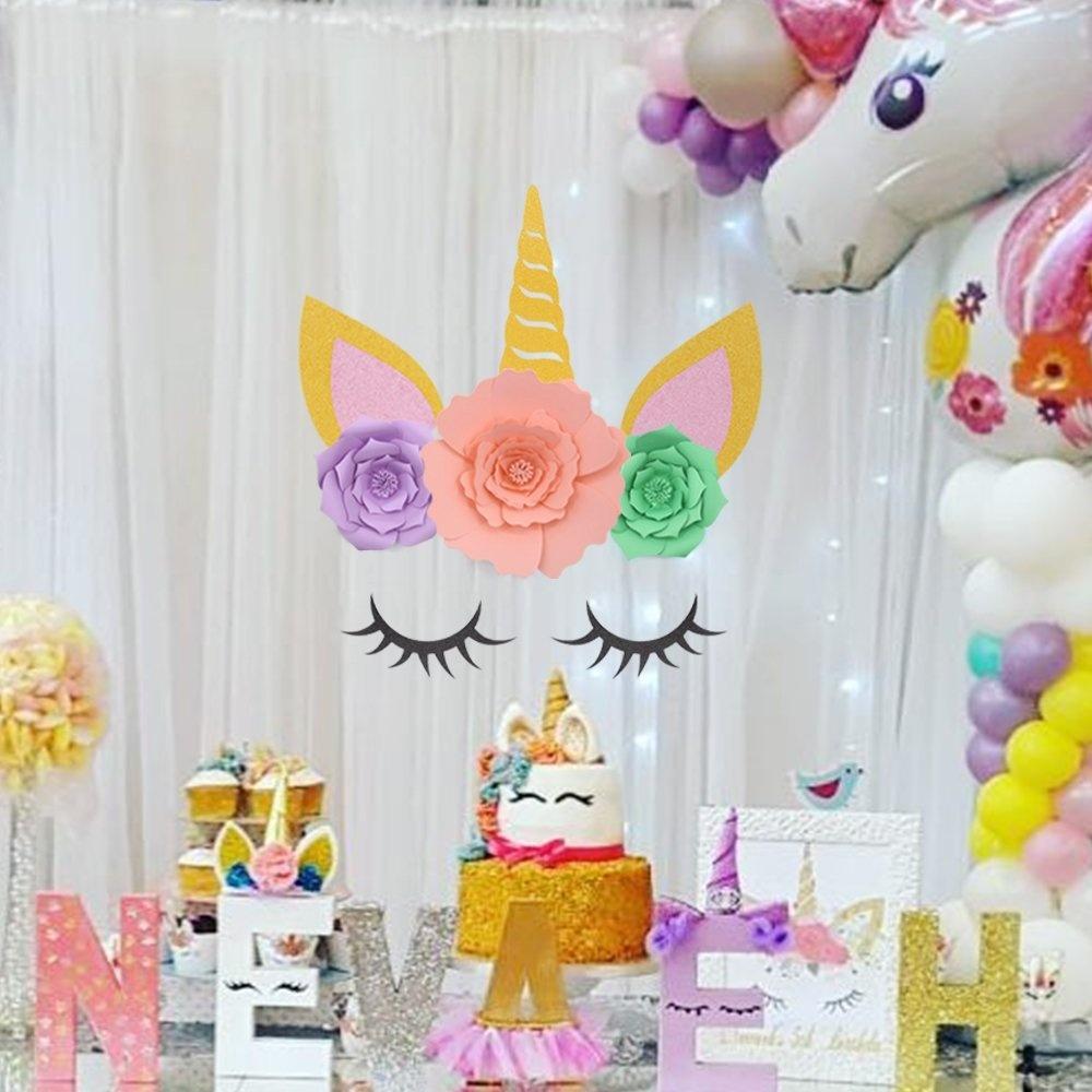 Unicorn Party Decorations Backdrop Large Horn Ears Eyelashes Face Birthday  Party Flower Set
