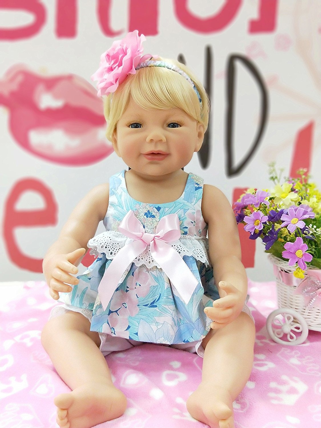 Pursue Baby Washable Hard Vinyl Full body Lifelike Newborn Baby Doll Gloden  Hair Britney, 60cm Real Looking Baby Doll Alive (No Sex)