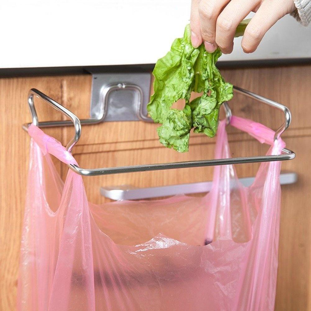 Cupboard Kitchen Cabinet Door Back Stand Trash Garbage Bags Storage Rack FA