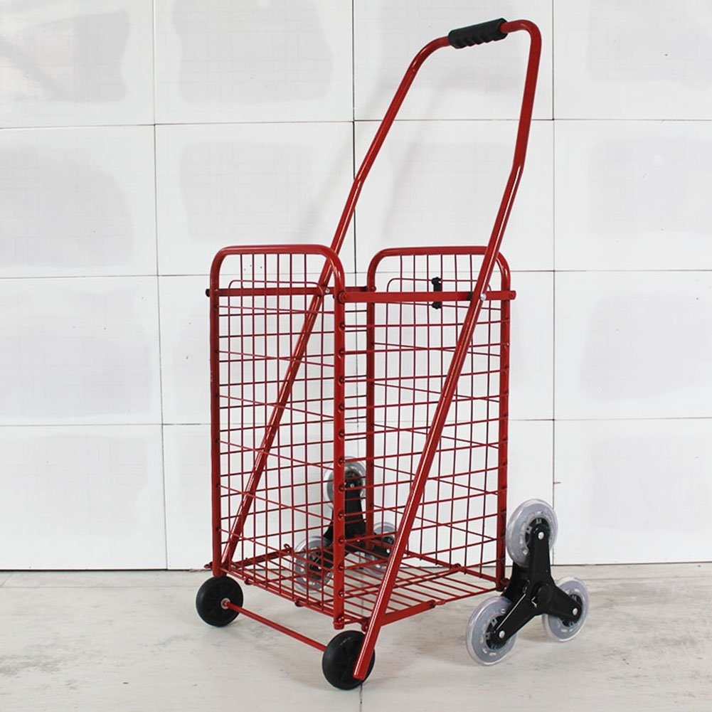 94d0094cce96 ZGL Trolley Trolley Climbing Stairs Shopping Cart Portable Fold Small Cart  Elderly Hand Car Household Pull Rod Baggage Trailer Hand Car (Colour : Red)