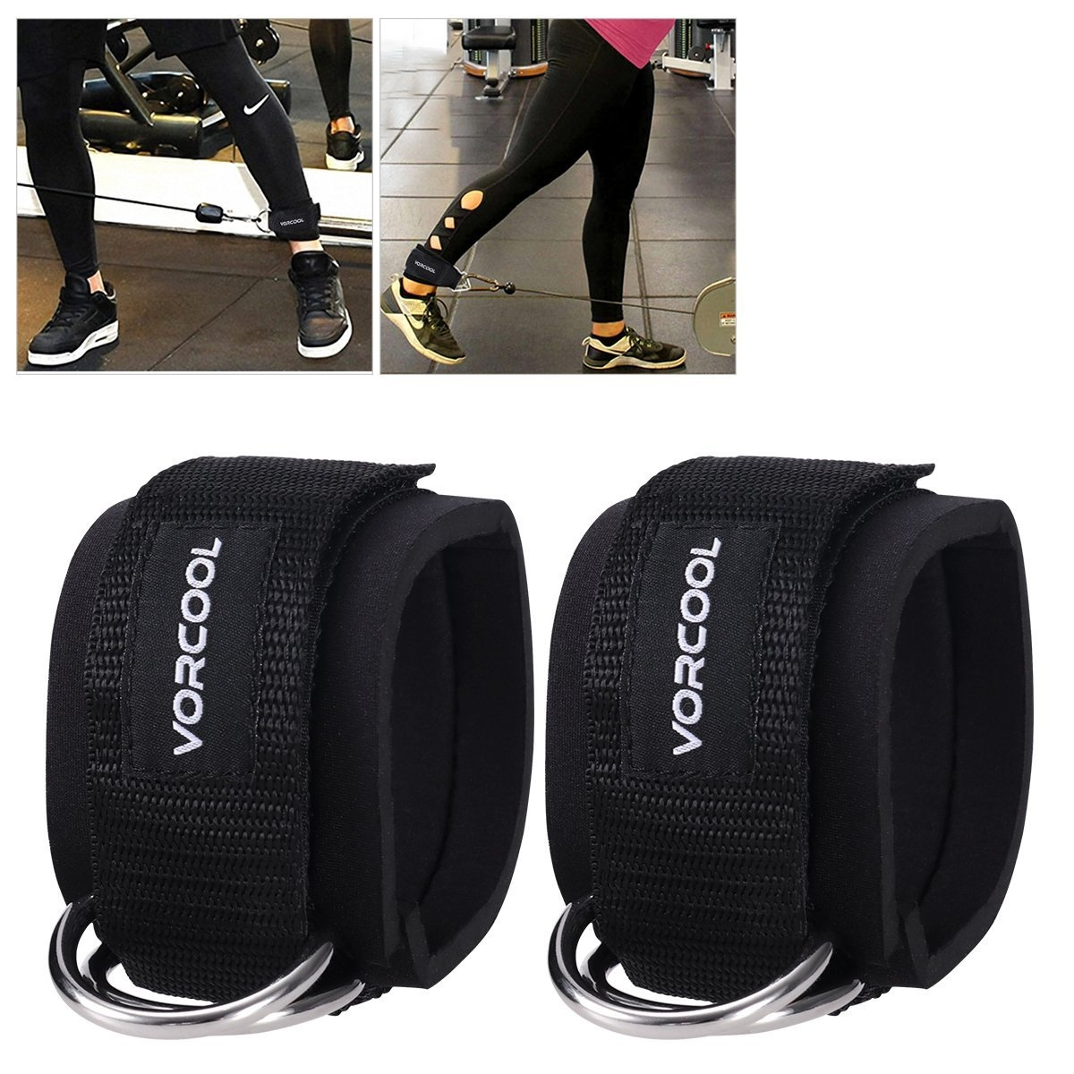 4f7a704a6fe6 VORCOOL 2PCS Ankle Straps for Cable Machines Weightlifting Gym Workout  Fitness Double D-Ring Neoprene Padded Ankle Cuffs for Legs, Abs and Glute  ...