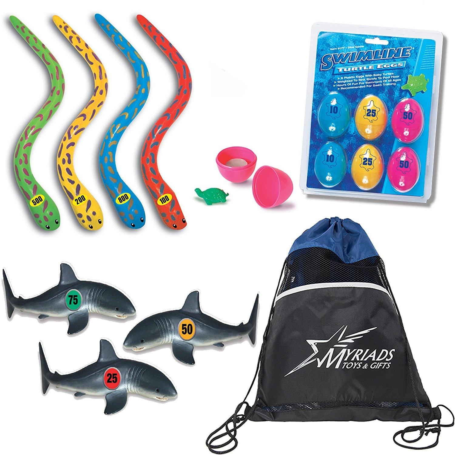 Swimline Underwater Swimming Diving Pool Toys Set Of 3 Turtle Eggs Drawstring Bag Shark Dive Game Eel Sticks Frenzy With A By