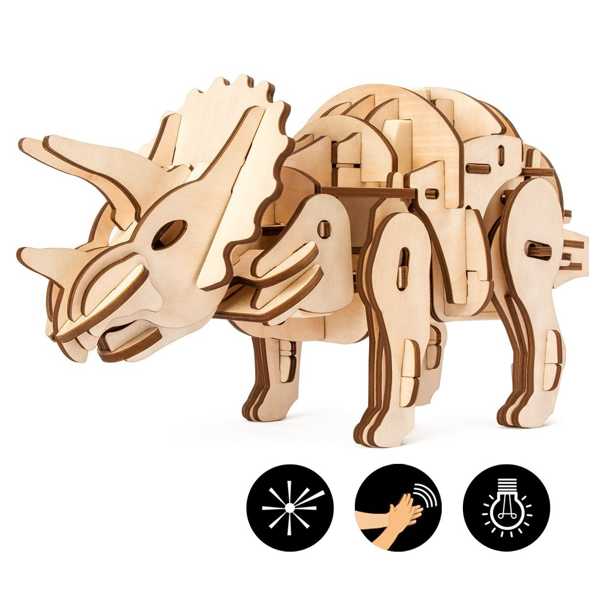 ROBOTIME Dinosaur Building Toys 3D Grown-Up Puzzles Laser-Cut Wood Craft  Kits 3 Control Approaches Robot Triceratops Toys Best Birthday Gifts for  Kids