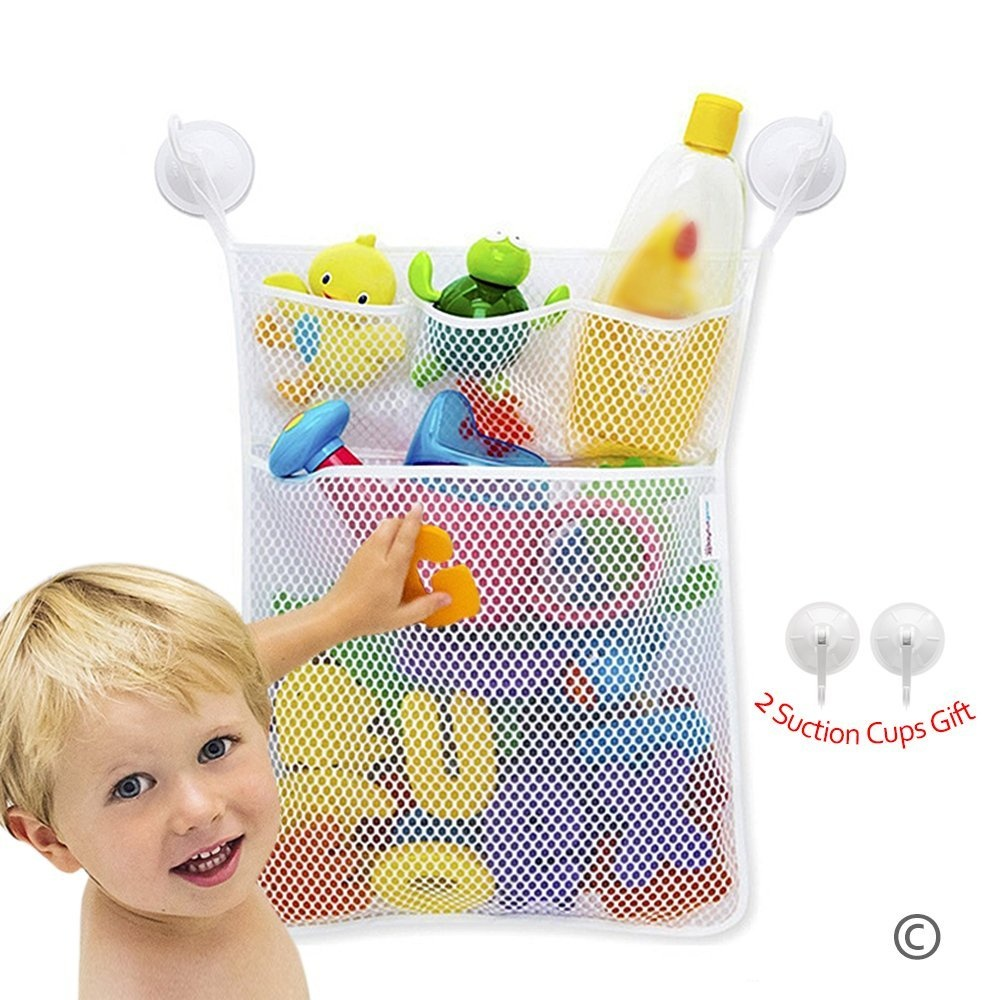 JUNSHEN Baby Bath Toy Storage Bag(45cm x 33cm ) with 4 Suction Cups ...