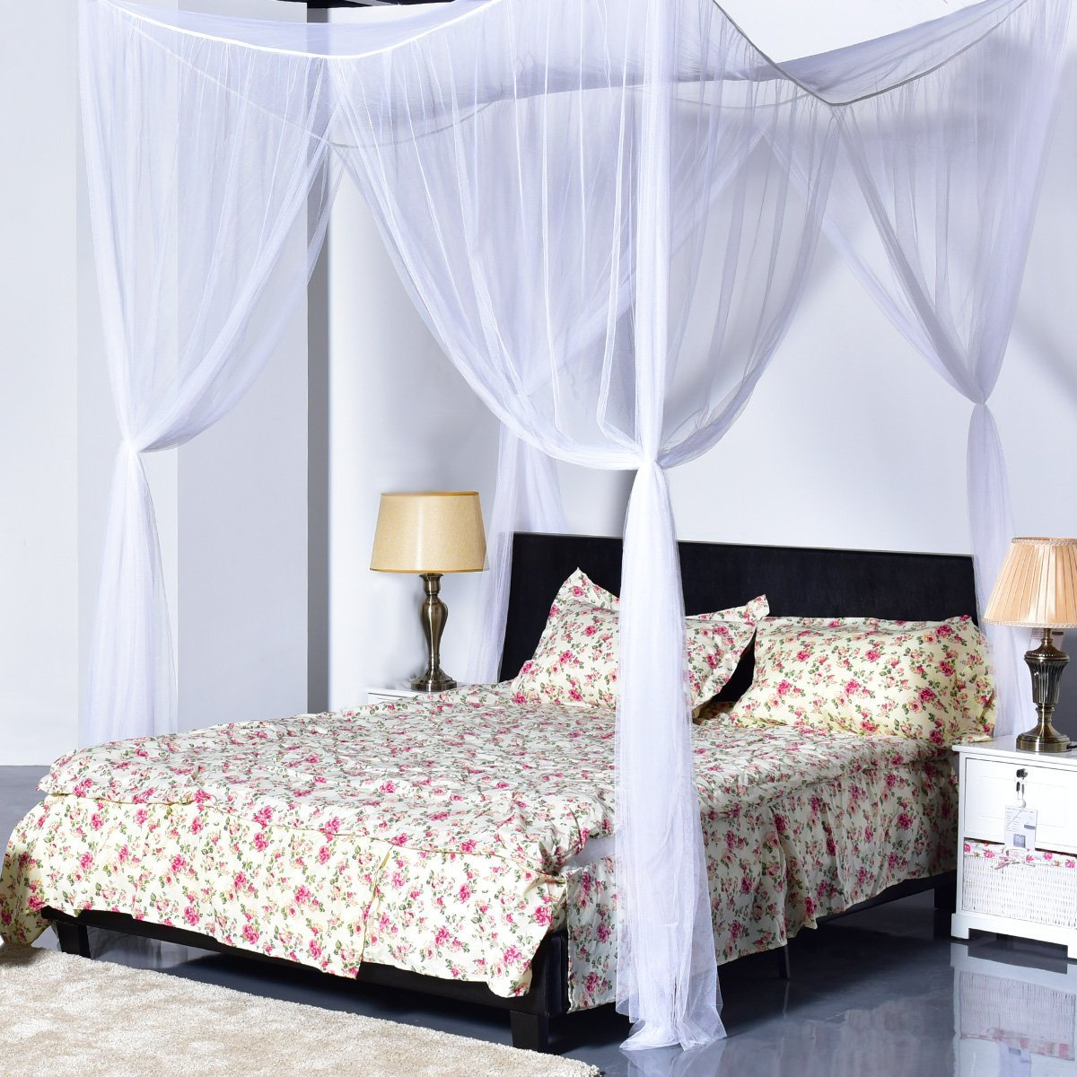 a5f5375926625 Goplus 4 Corner Post Bed Canopy Mosquito Net Full Queen King Size ...