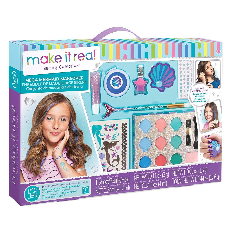 Make It Real Mega Mermaid Makeover  Mermaid Themed Girls Makeup Kit   Starter Cosmetic Set for Kids and Tweens  Includes Case, Mirror, Eye  Shadow,