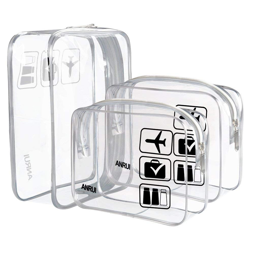 1a7b64c7be92 (3 Pack) ANRUI TSA Approved Clear Toiletry Bag Travel Carry On Airport  Airline Compliant Bag Quart Sized 3-1-1 Kit Travel Luggage Pouch